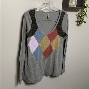 Free People Diamond Color Block Long Sleeve Top S